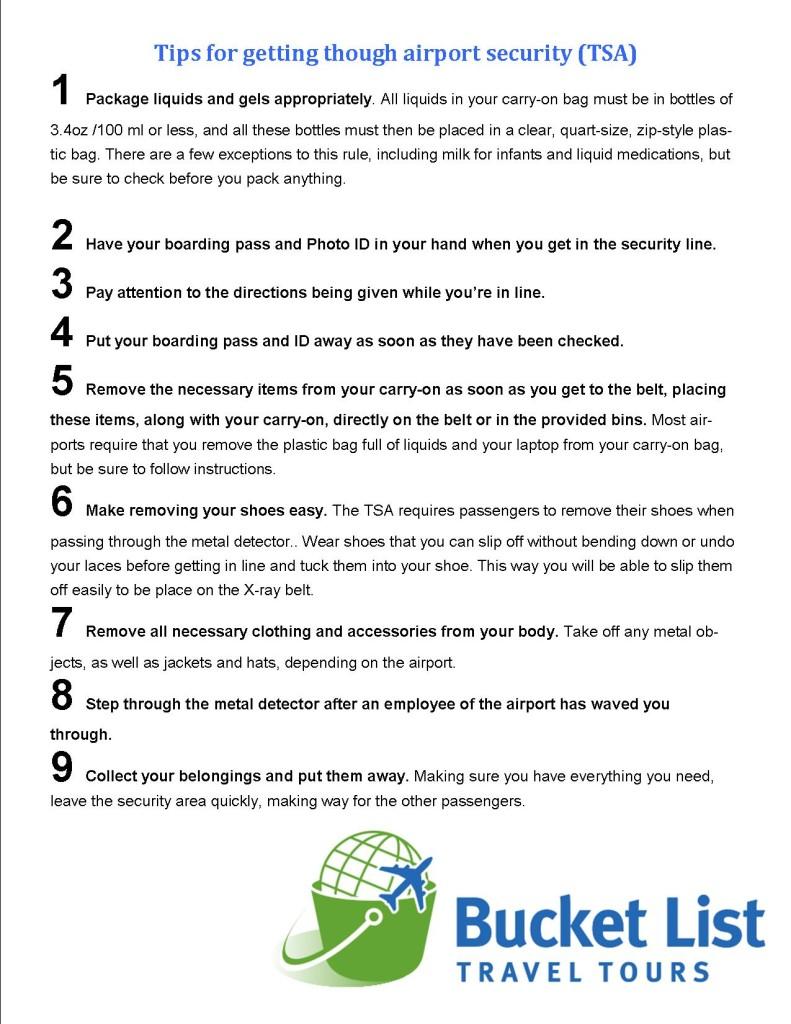 Bucket list Travel Tours Tips for getting through TSA
