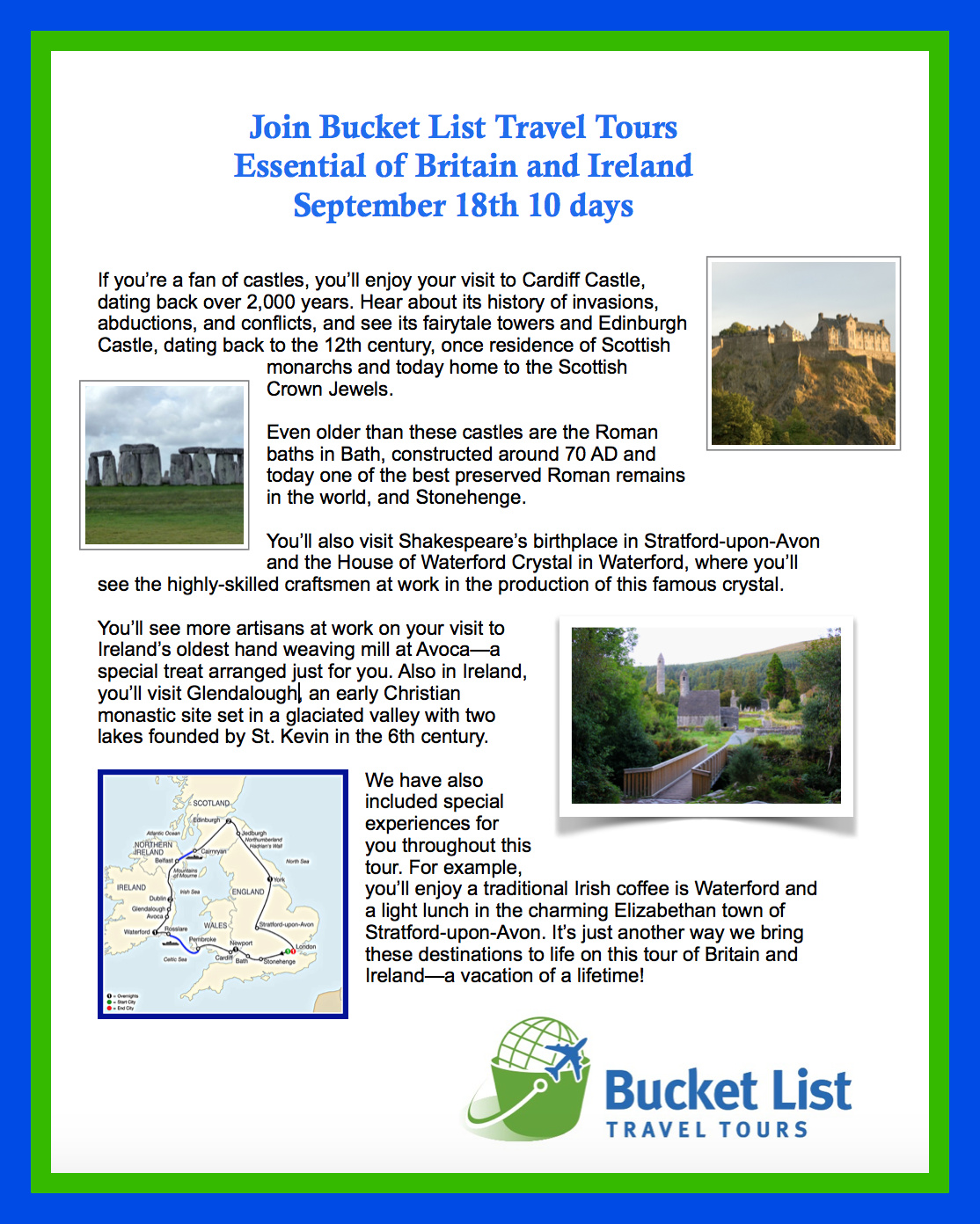 Join us on a 10 vacation to England, Ireland and Scotland