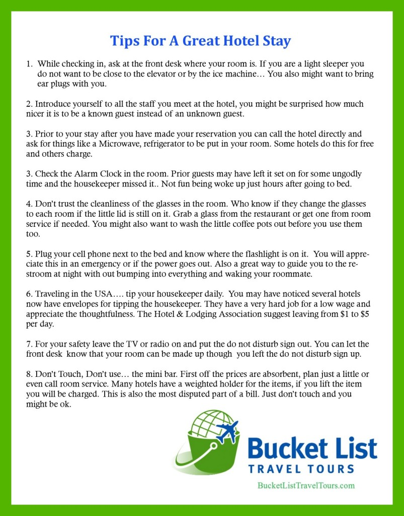 Tips for a great hotel stay